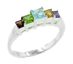 Multi-level Sterling Silver Step Ring - Genuine Peridot, Blue Topaz, Garnet, Amethyst, and Citrine Size 10