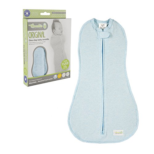 Woombie Original One-Step Baby Swaddle - Easy to Use Natural Approach to Swaddling - Stretchy but Snug Breathable Fabric - Dream On (Heathered Blue) - Newborn 5-13 lbs