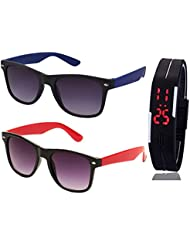 BLUE WAYFARER SUNGLASSES AND BLACK RED WAYFARER SUNGLASSES WITH TPU BAND RED LED DIGITAL BLACK DIAL UNISEX WATCH...