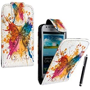 STYLEYOURMOBILE {TM} SAMSUNG GALAXY SIII S3 MINI i8190 NEW MULTI BUTTERFLY MAGNETIC FLIP PU LEATHER CASE COVER POUCH