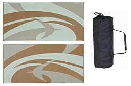 Reversible Mats 159187 Brown/Beige 9\'x18\' Swirl Pattern Mat