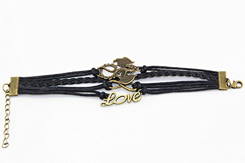 Handmade Dragon Love Charm Friendship Gift Fashion Jewelry Personalized Leather Bracelet – Black
