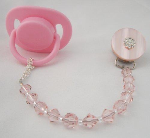 Baby Pink Swarovski Pacifier Clip