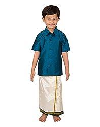 Thangamagan Boy's Shirt/Dhoty Regular Fit (Dark Blue,Age : 6 to 7 Years)