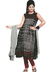 Black And White Faux Georgette Readymade Anarkali Churidar Kameez