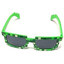 8-bit Pixel Retro Novelty Gamer Geek Sunglasses from EnderToys (Green)