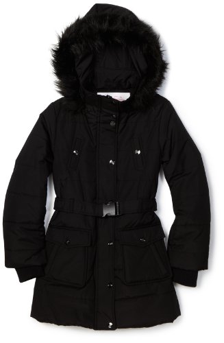 Jessica Simpson Coats Girls 7-16 Long Quilted Belted Jacket, Black, Medium