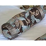 Crewel Pillow Grapevine Deep Olive Cotton Viscose Velvet Neck Ro (6X14)