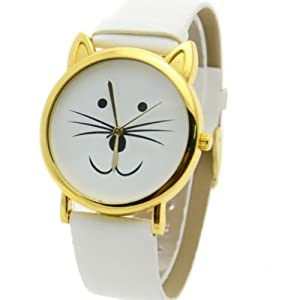 Lovely Cat Face Shape Dial Alloy Faux Leather Watch White