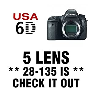 Canon EOS 6D Digital SLR Camera 5 Lens Kit with 28-135mm IS, 75-300mm, 500mm, Wide Angle, 2X Telephoto, 24 GB and More