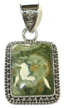 Rectangle Rhyolite & Sterling Silver Pendant