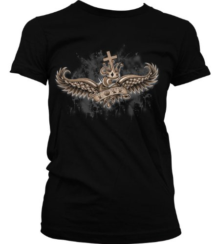 Crowned Love Juniors T-Shirt, Winged Heart And Crown Old School Tattoo Style Design Juniors Shirt, X-Large, Black