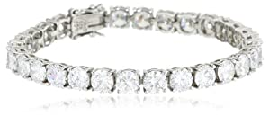 Sterling Silver Round-Cut Simulated Diamond Tennis Bracelet, 7.25