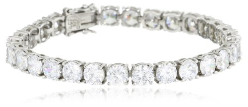 Sterling Silver Round-Cut Cubic Zirconia Tennis Bracelet, 7.25&#8243;