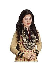 Sk Creation Cream Designer Neck Embroidered Anarkali Suit