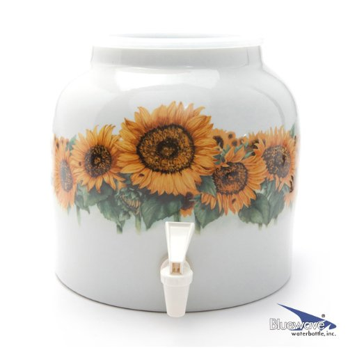 Bluewave Sunflower Blossom Design Water Dispenser Crock (Ceramic Water Crock Top compare prices)