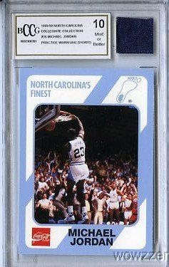 1989 UNC #16 Michael Jordan Rookie with Piece of Authentic Worn UNC Shorts Graded BGS BECKETT 10 MINT GGUM Card