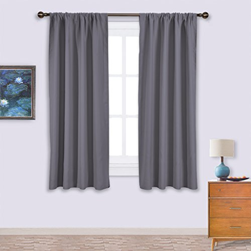 Nicetown Thermal Insulated Rod Pocket Blackout Curtains for Bedroom (2 Panels, W42 x L63 -Inch,Grey) (Thermal Curtains For Boys compare prices)