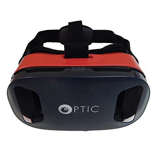 OPTIC 3D VR Headset VR Goggles 3D VR Glasses VR Box Virtual Reality Headset Glasses for 3D Movies and Games for Apple iPhone, Samsung Galaxy Note HTC Google Nexus LG More Smartphones (Red)