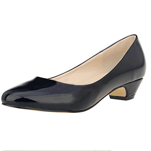 ZriEy Women's Closed Round Toe Pumps Low Mid Heels for Business Work Office Shoes Patent Leather Black , 7.5