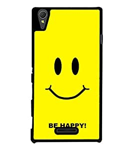 Be Happy 2D Hard Polycarbonate Designer Back Case Cover for Sony Xperia T3