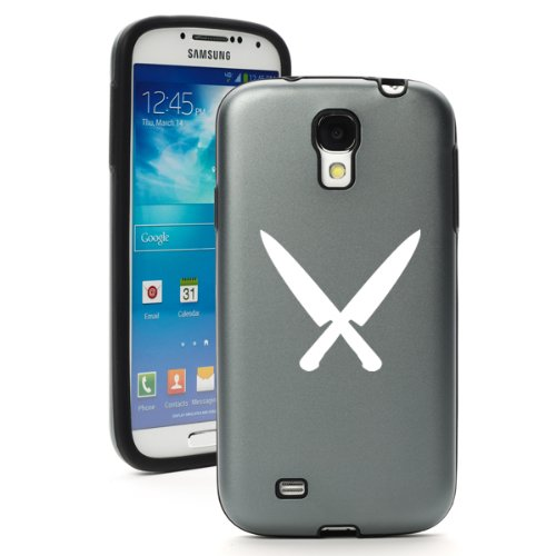 Silver Gray Samsung Galaxy S4 S Iv I9500 Aluminum & Silicone Hard Back Case Cover Ka90 Chef Knives
