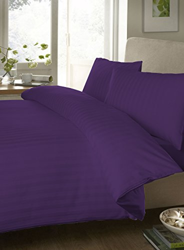 Egyptian Cotton Fitted Sheet 300 Thread Count Stripe ( Queen , Purple ) By Bedding Spa front-554454