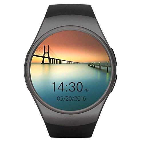 Rubility® KW18 SmartWatch IP67 Impermeable Antipolvo 1,3 Pulgadas, Bluetooth 4.0 Frecuencia Cardíaca Sensor para IOS & Android--- Color Negro (Seguimiento de Fase / Seguimiento / Apagado Sedentario Alarma/ Anti-Perdido)