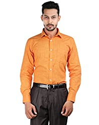 Oxemberg Men's Solid Formal 100% Cotton Orange Shirt