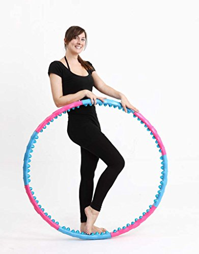 Wide Hula Hoop with Massage Balls Double Magnetic Balls Exercise Fitness Workout Abdominal 8 Pcs Pipe - Pink Blue