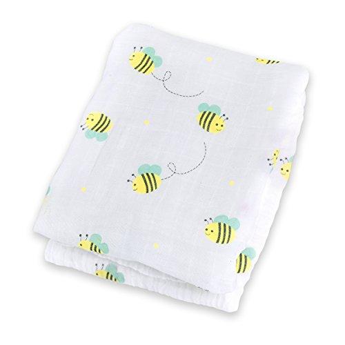 "Lulujo Baby Muslin Cotton Swaddling Blanket, Bumbling Bee, 47"" x 47"""
