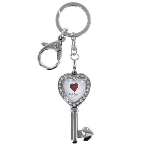 Silver Heart Photo Frame Key Ring