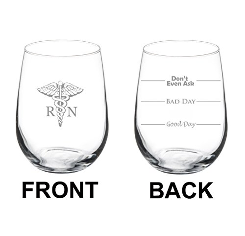17 oz Stemless Wine Glass Funny Two Sided Good Day Bad Day Don't Even Ask RN Registered Nurse (Nurse compare prices)