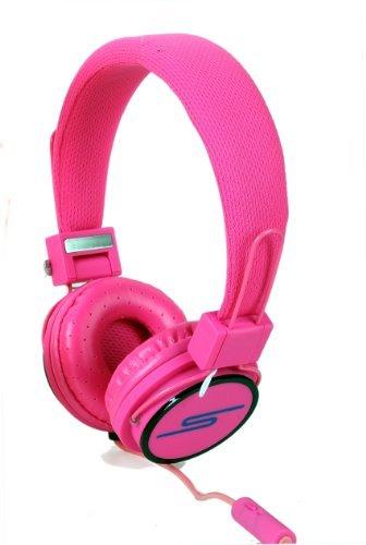 SoulBuddy S-type Kopfhörer mit Mikrofon / Headset, für Telefon und PC (Skype) rose