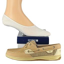 Sperry Women\'s Angelfish Shoe with FREE No Show socks Socks Bundle Linen/Oat ...