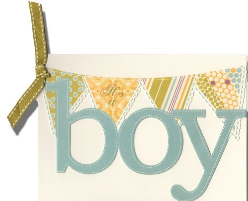 Anna Griffin Diecut Blue It's a Boy Flag Banner Shower or Announcement Printable Invitation Cards, Set of 10 - 1