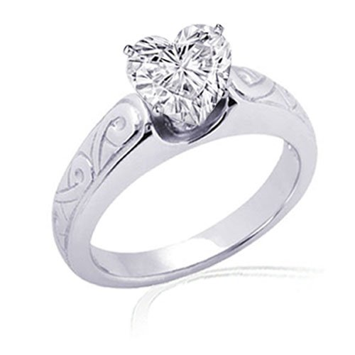 1 Ct Heart Shaped Solitaire Diamond Engagement 