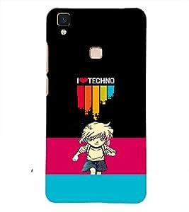 PRINTSHOPPII TECHNO TRANCE Back Case Cover for Vivo V3 Max