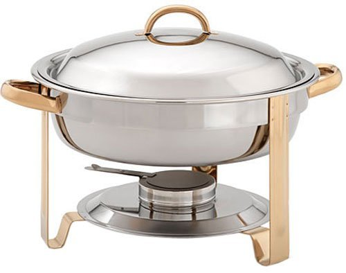 Update International (DC-4/GB) 4 qt Stainless Steel Round Gold-Accented Chafer
