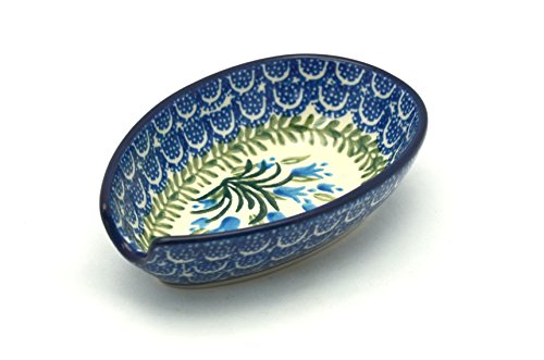 Polish Pottery Spoon Rest - Blue Bells polmedia polish pottery 10 inch stoneware plate h2520c hand painted from ceramika artystyczna in boleslawiec poland shape s223a 223 pattern p1628a a 5