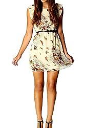 Richio Women's Chiffon Short Sleeve Belted Butterfly Printed Dress