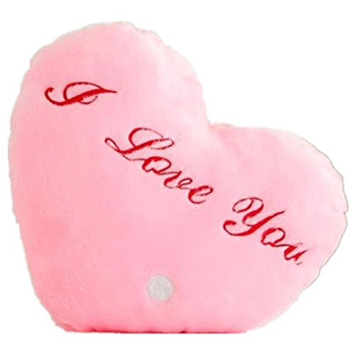 Kingfansion Heart Style Glowing LED Pillow 7 Color Changing Light up Soft Cushion (Pink)