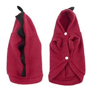 Red Black Dinosaur Design Winter Pet Dog Chihuahua Coat Clothes XS