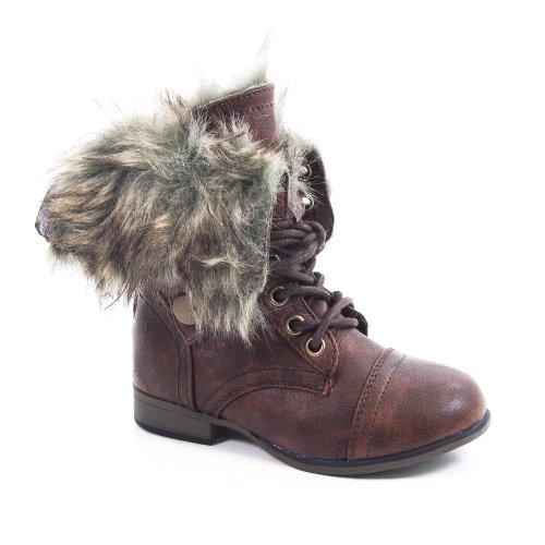 Legend10K Kids Fold Down Furry Winter Combat Boot Lace-Up Children's New