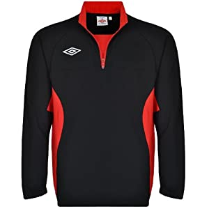 Umbro Mens Soccer Training Zip Drill Top - Black/Red - 2XL