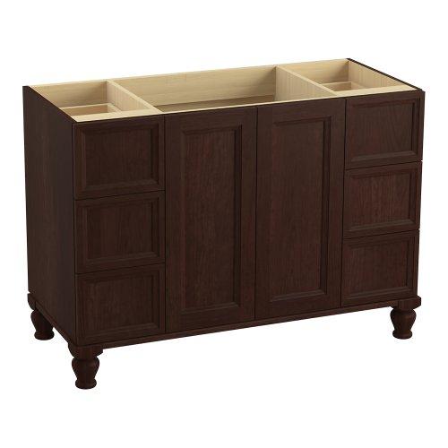 Kohler K-99522-Lg-1Wg Damask 48-Inch Vanity With Furniture Legs, 2 Doors And 6 Drawers, Cherry Tweed