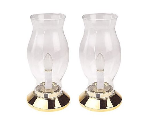 pack of 2 battery operated led hurricane lamps with gold