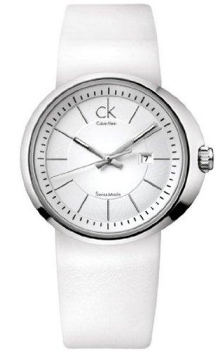 CALVIN KLEIN CK TRUST K0H23101 LADIES WHITE LEATHER STAINLESS STEEL CASE WATCH
