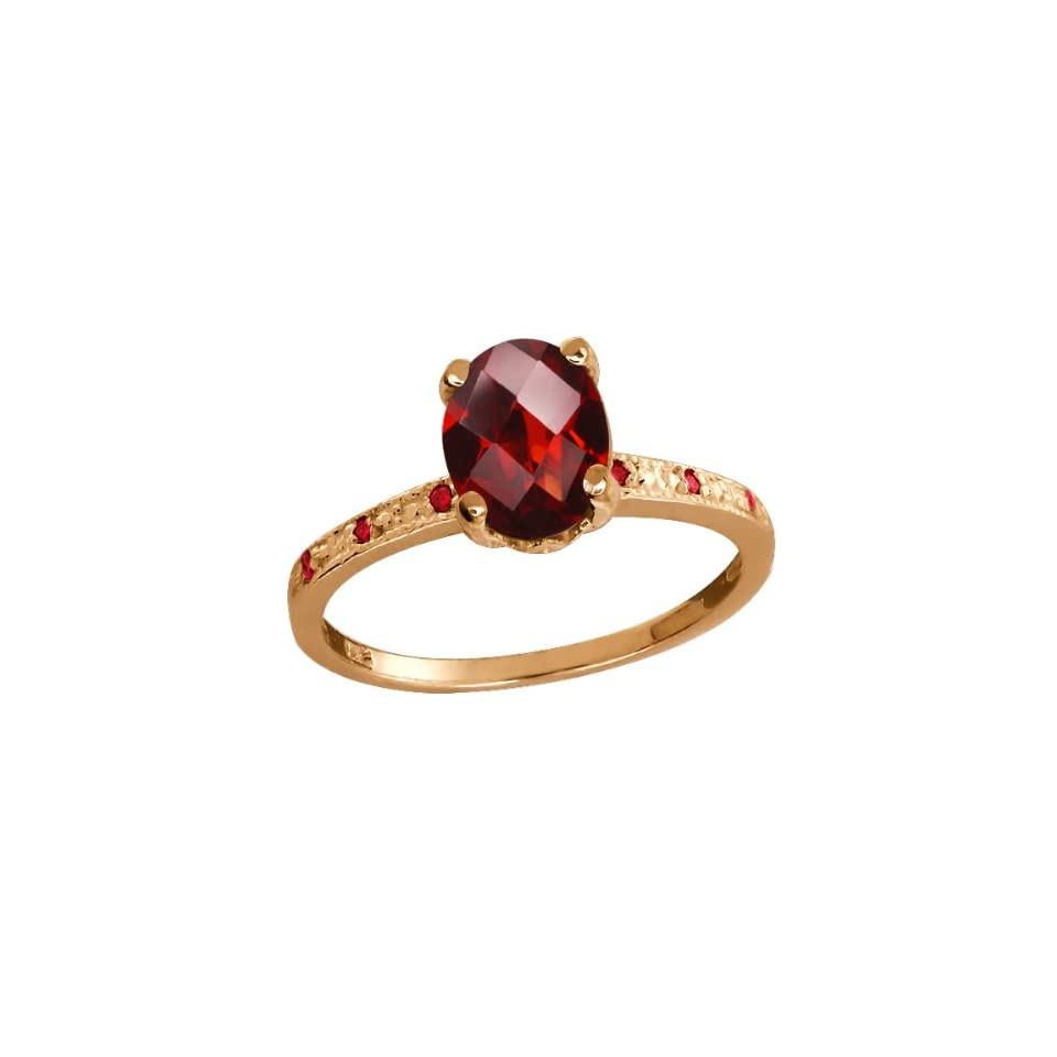 1.45 Ct Checkerboard Red Garnet Rose Gold Plated Sterling Silver Ring