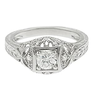 Tressa Sterling Silver Round-cut Pave-style Cubic Zirconia Ring